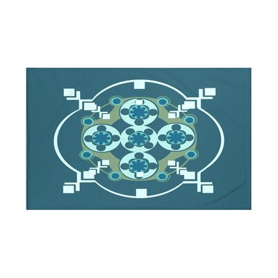 Shivani Geometric Print Throw Blanket Size: 60 L x 50 W, Color: Deep Sea (Teal/Aqua)