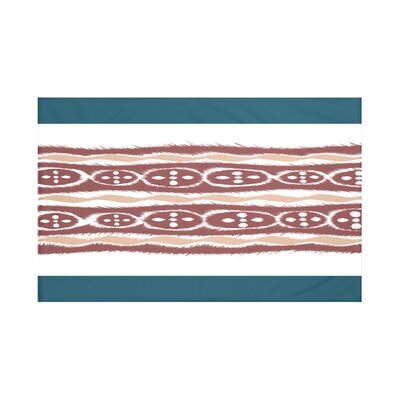 Fierro Stripes Print Throw Blanket Size: 60 L x 50 W, Color: Mahogany (Teal/Coral)