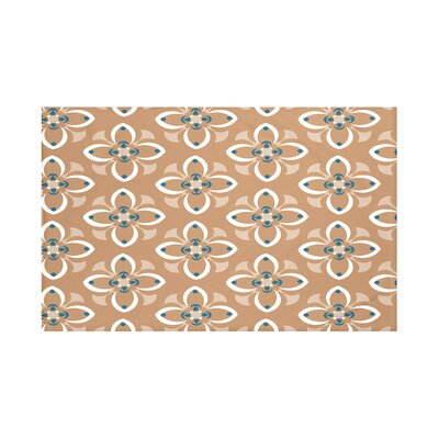 Hamra Geometric Print Throw Blanket Size: 60 L x 50 W, Color: Caramel (Brown/Off White)