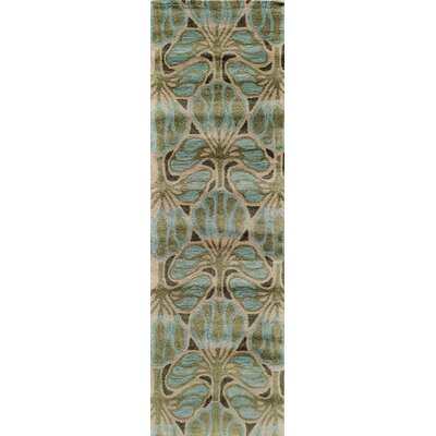 Allen Hand-Tufted�Teal Area Rug Rug Size: Runner 2'3