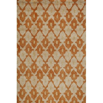 Allen Hand-Tufted Orange/Cream Area Rug Rug Size: Rectangle 8 x 10