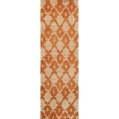 Allen Hand-Tufted Orange/Cream Area Rug Rug Size: Runner 23 x 76