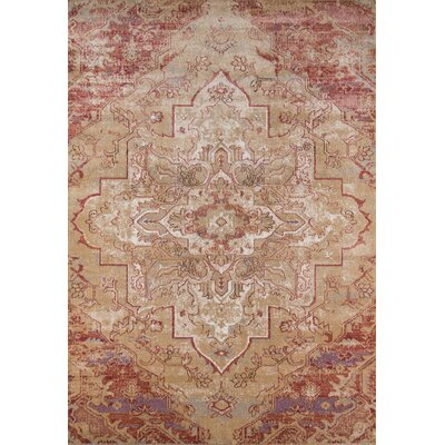 Damien Red/Tan Area Rug Rug Size: 93 x 126