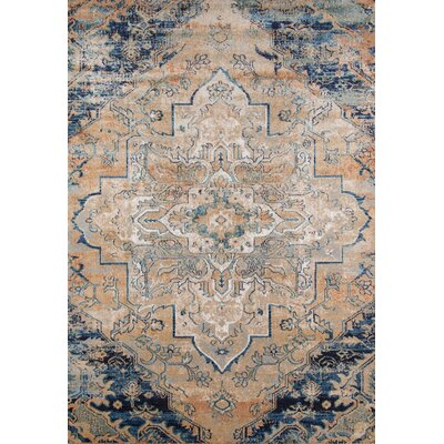 Damien Navy/Tan Area Rug Rug Size: Rectangle 93 x 126