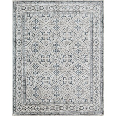 Zoey Hand-Knotted Ivory/Blue Area Rug Rug Size: Rectangle 8 x 11