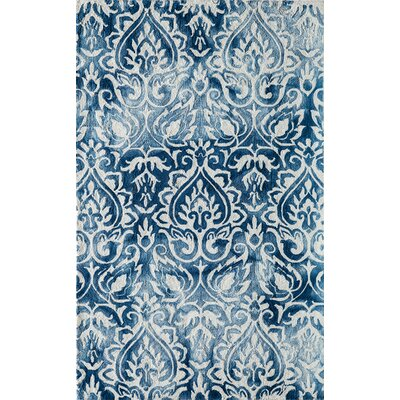 Lucy Hand-Hooked Blue/White Area Rug Rug Size: Rectangle 5' x 7'6