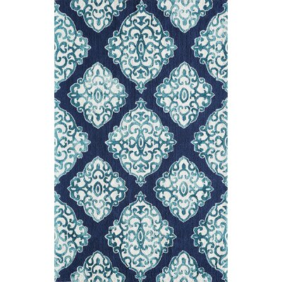 Lucy Hand-Hooked Navy/White Area Rug Rug Size: Rectangle 36 x 56