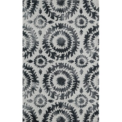 Lucy Hand-Hooked Gray Area Rug Rug Size: Rectangle 2 x 3