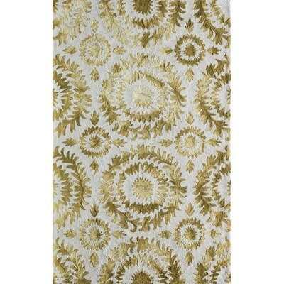 Lucy Hand-Hooked Yellow/White  Area Rug Rug Size: Rectangle 8 x 10