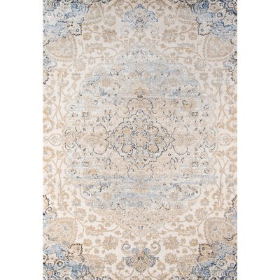 Damien Beige/Blue Area Rug Rug Size: Rectangle 53 x 76