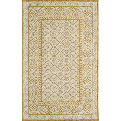 Anaya Hand-Hooked Gold/White Area Rug Rug Size: Rectangle 39 x 59