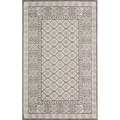 Anaya Hand-Hooked Gray/Ivory Area Rug Rug Size: Rectangle 9 x 12