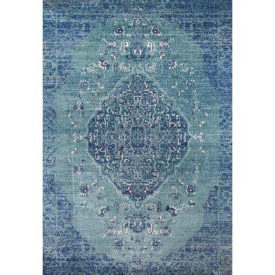 Damien Teal/Ivory Area Rug Rug Size: Rectangle 2 x 3