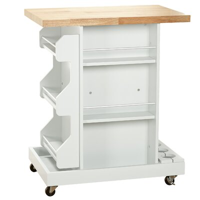 Diaz Kitchen Cart with Wood Top Base Finish: White