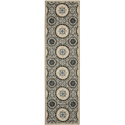 Mackenzie Cement/Blue Outdoor Area Rug Rug Size: Runner 23 x 8