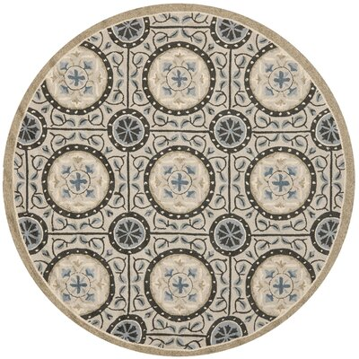 Puri Cement/Blue Outdoor Area Rug Rug Size: Round 6