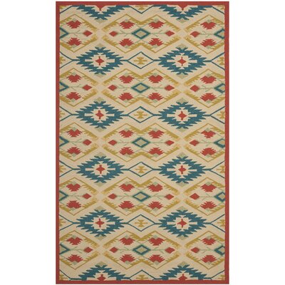 Puri Yellow and Blue Outdoor/Indoor Area Rug Rug Size: 36 x 56