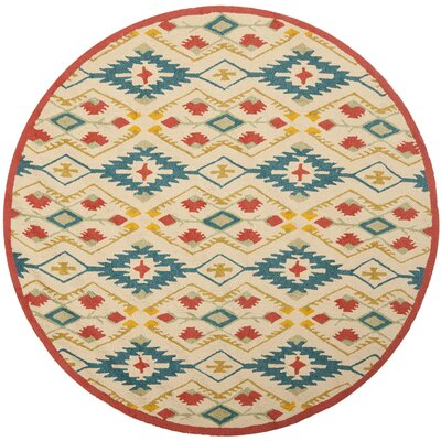 Puri Yellow and Blue Outdoor/Indoor Area Rug Rug Size: Round 4
