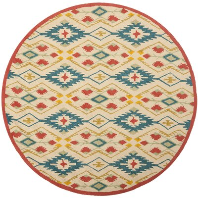 Puri Yellow and Blue Outdoor/Indoor Area Rug Rug Size: Round 6'