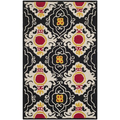 Puri Black/Orange Outdoor Area Rug Rug Size: 2'6
