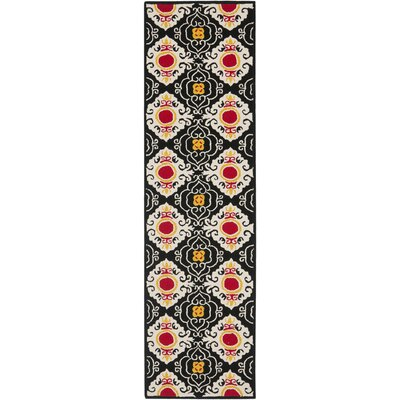 Puri Black/Orange Outdoor Area Rug Rug Size: Runner 2'3