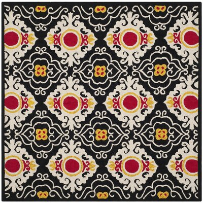 Puri Black/Orange Outdoor Area Rug Rug Size: Square 6