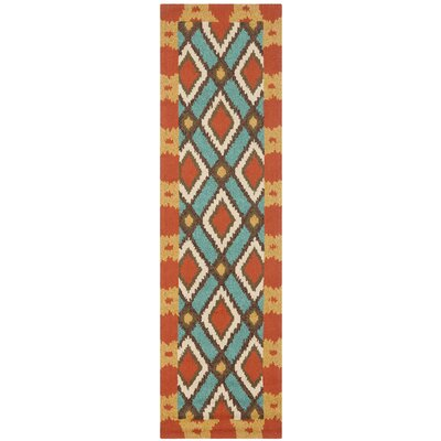 Puri Light Blue/Red Outdoor Area Rug Rug Size: Runner 23 x 8