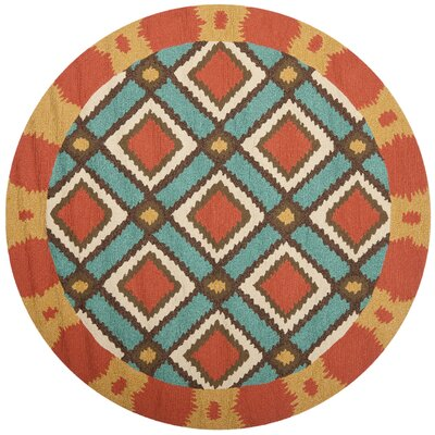 Puri Light Blue/Red Outdoor Area Rug Rug Size: Round 4