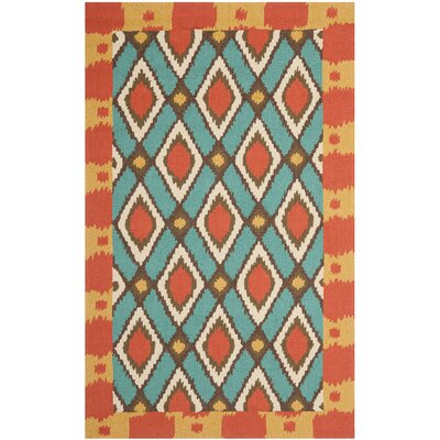 Puri Light Blue/Red Outdoor Area Rug Rug Size: 5 x 8