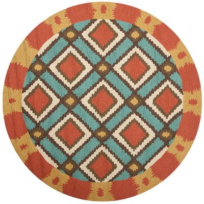 Puri Light Blue/Red Outdoor Area Rug Rug Size: Round 6'