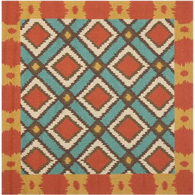 Puri Light Blue/Red Outdoor Area Rug Rug Size: Square 6