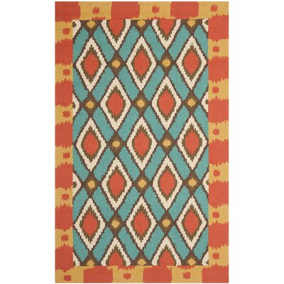 Puri Light Blue/Red Outdoor Area Rug Rug Size: Rectangle 26 x 4