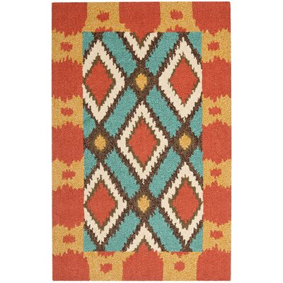 Puri Light Blue/Red Outdoor Area Rug Rug Size: 2'6