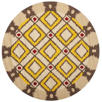 Puri Beige/Yellow Outdoor Area Rug Rug Size: Round 6'