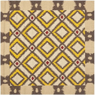 Puri Beige/Yellow Outdoor Area Rug Rug Size: Square 6