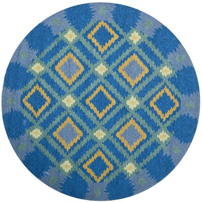 Puri Indigo/Yellow Indoor/Outdoor Area Rug Rug Size: Round 6
