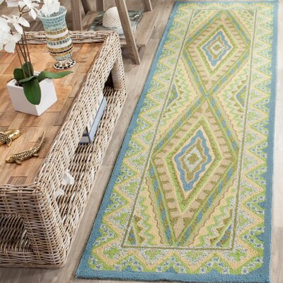 Puri Blue/Yellow Outdoor Area Rug Rug Size: Runner 23 x 8