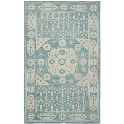 Hawke Blue Floral Plant Rug Rug Size: Rectangle 8 x 10