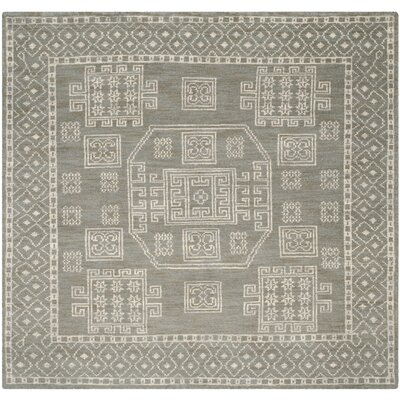 Hawke Grey Geometric Area Rug Rug Size: Square 7