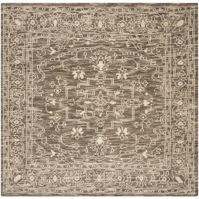 Hawke Hand-Woven Wool Brown/Beige Area Rug Rug Size: Square 7