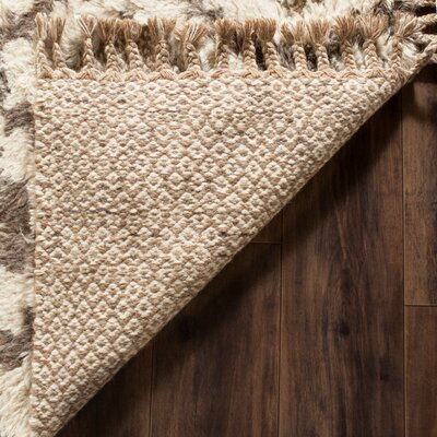 Hawke Hand Woven Wool Ivory/Brown/Beige Area Rug Rug Size: Rectangle 8 x 10