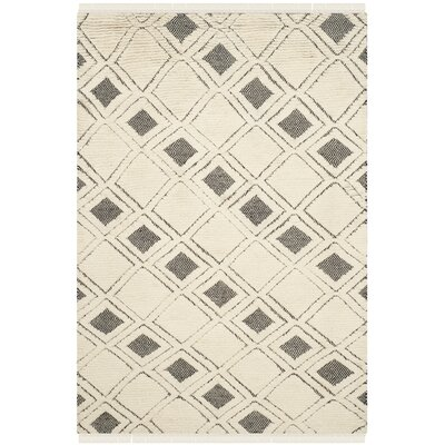 Hawke Hand Woven Cotton Ivory/Black Area Rug Rug Size: Rectangle 5 x 8