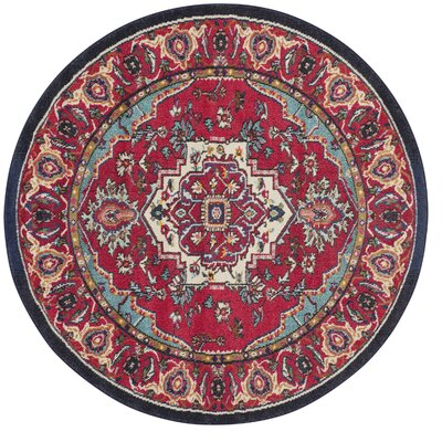 Ward Red Area Rug Rug Size: Round 5