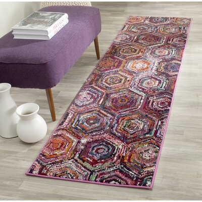 Chana Pink/Purple Area Rug Rug Size: Runner 22 x 8