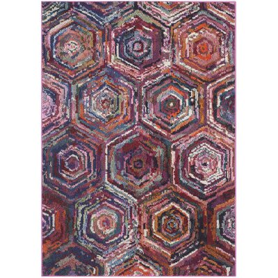 Chana Pink/Purple Area Rug Rug Size: Rectangle 4 x 57