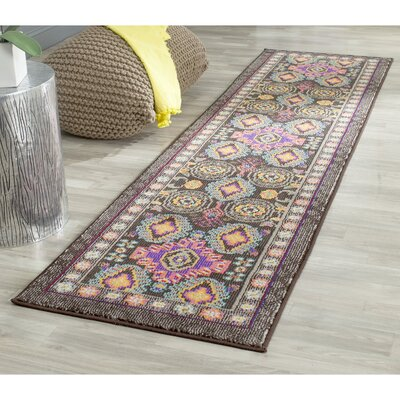 Elston Brown/Blue Area Rug Rug Size: Runner 22 x 8