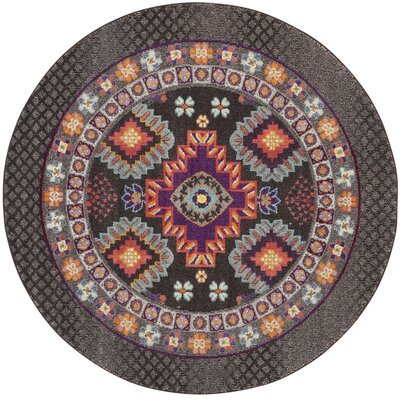 Chana Brown Area Rug Rug Size: Round 6'7