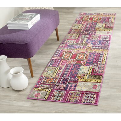 Chana Pink Area Rug Rug Size: Runner 22 x 12