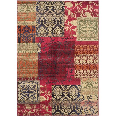 Chana Red Area Rug Rug Size: 67 x 92