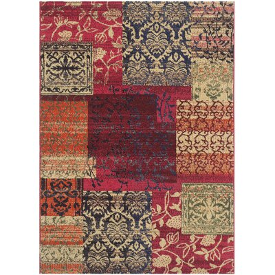 Chana Red Area Rug Rug Size: 51 x 77